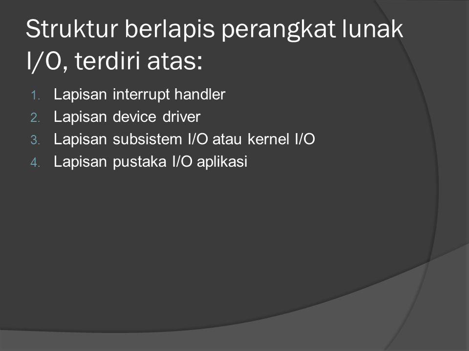 Struktur berlapis perangkat lunak I/O, terdiri atas: