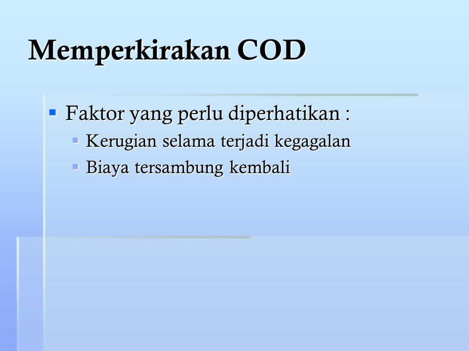 Memperkirakan COD Faktor yang perlu diperhatikan :