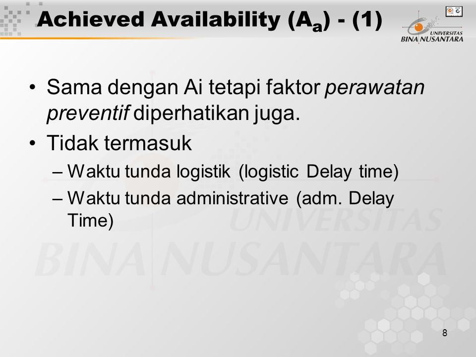 Achieved Availability (Aa) - (1)