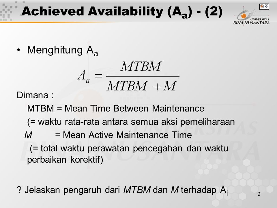 Achieved Availability (Aa) - (2)