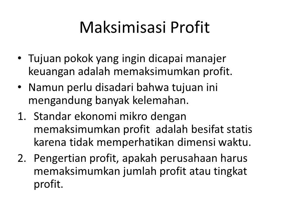 Maksimisasi Profit Tujuan pokok yang ingin dicapai manajer keuangan adalah memaksimumkan profit.