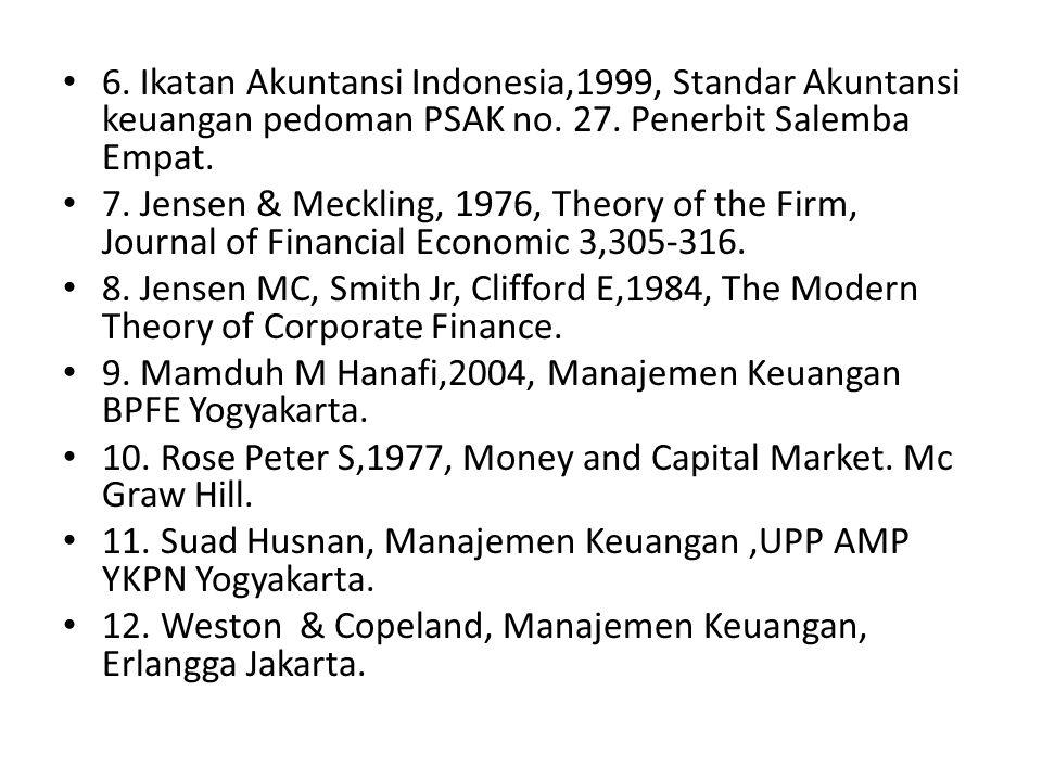 6. Ikatan Akuntansi Indonesia,1999, Standar Akuntansi keuangan pedoman PSAK no. 27. Penerbit Salemba Empat.