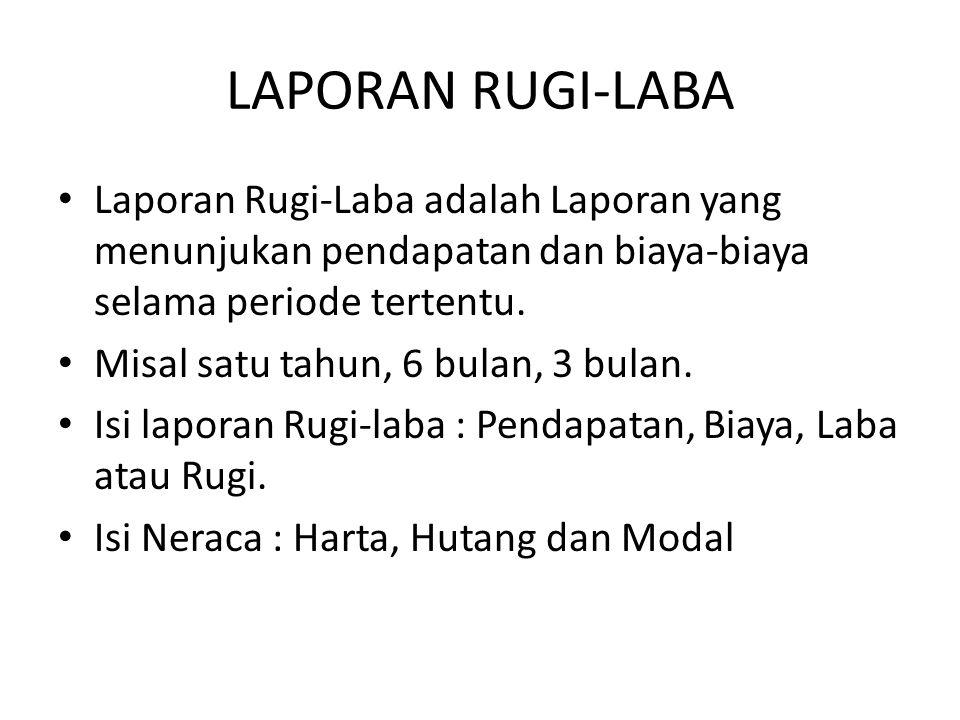 LAPORAN RUGI-LABA Laporan Rugi-Laba adalah Laporan yang menunjukan pendapatan dan biaya-biaya selama periode tertentu.