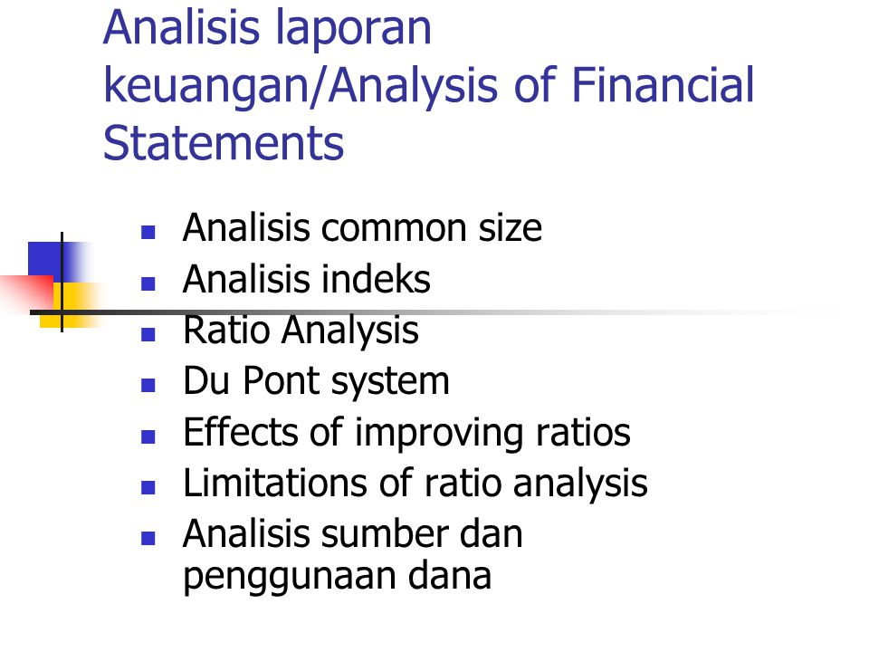 Analisis laporan keuangan/Analysis of Financial Statements