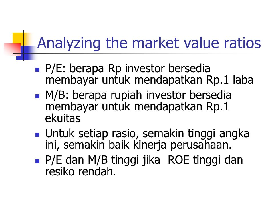 Analyzing the market value ratios