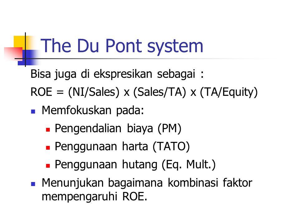 The Du Pont system Bisa juga di ekspresikan sebagai :
