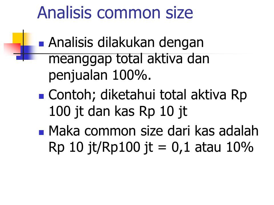 Analisis common size Analisis dilakukan dengan meanggap total aktiva dan penjualan 100%. Contoh; diketahui total aktiva Rp 100 jt dan kas Rp 10 jt.