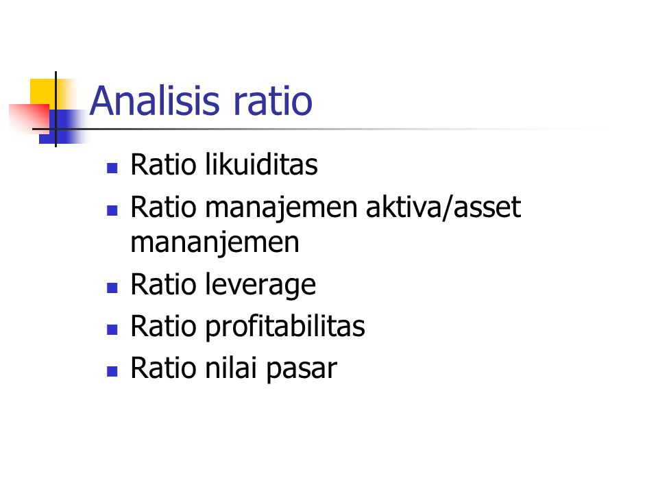 Analisis ratio Ratio likuiditas