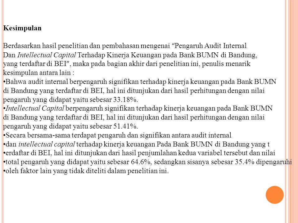 Kesimpulan Berdasarkan hasil penelitian dan pembahasan mengenai Pengaruh Audit Internal.