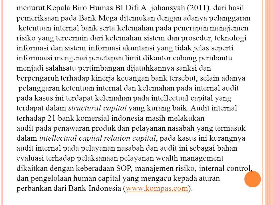 menurut Kepala Biro Humas BI Difi A. johansyah (2011), dari hasil
