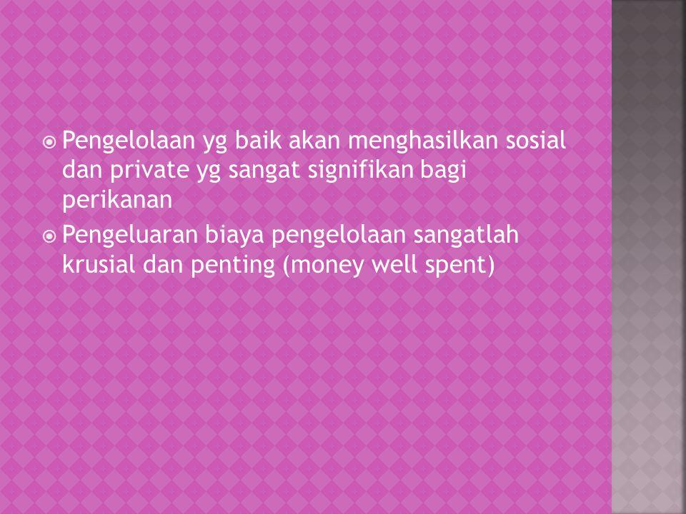 Pengelolaan yg baik akan menghasilkan sosial dan private yg sangat signifikan bagi perikanan