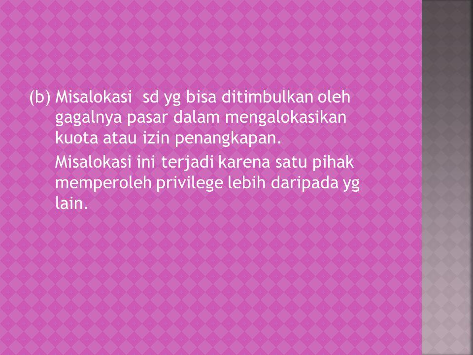 (b) Misalokasi sd yg bisa ditimbulkan oleh gagalnya pasar dalam mengalokasikan kuota atau izin penangkapan.