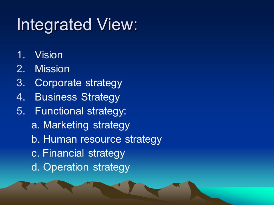 Integrated View: Vision Mission Corporate strategy Business Strategy