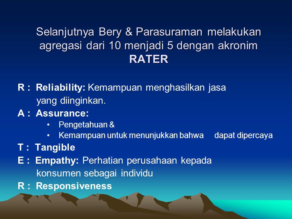 Selanjutnya Bery & Parasuraman melakukan agregasi dari 10 menjadi 5 dengan akronim RATER