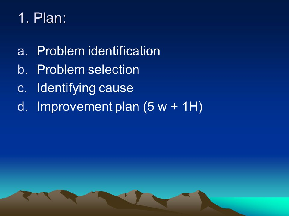 1. Plan: Problem identification Problem selection Identifying cause