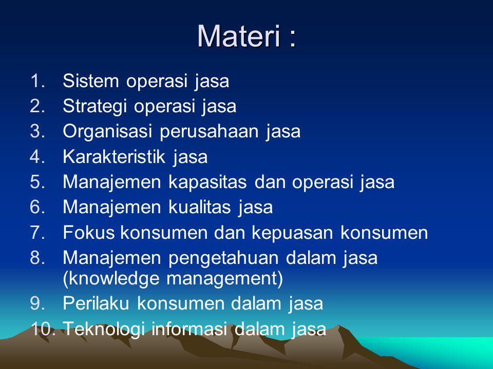 Materi : Sistem operasi jasa Strategi operasi jasa