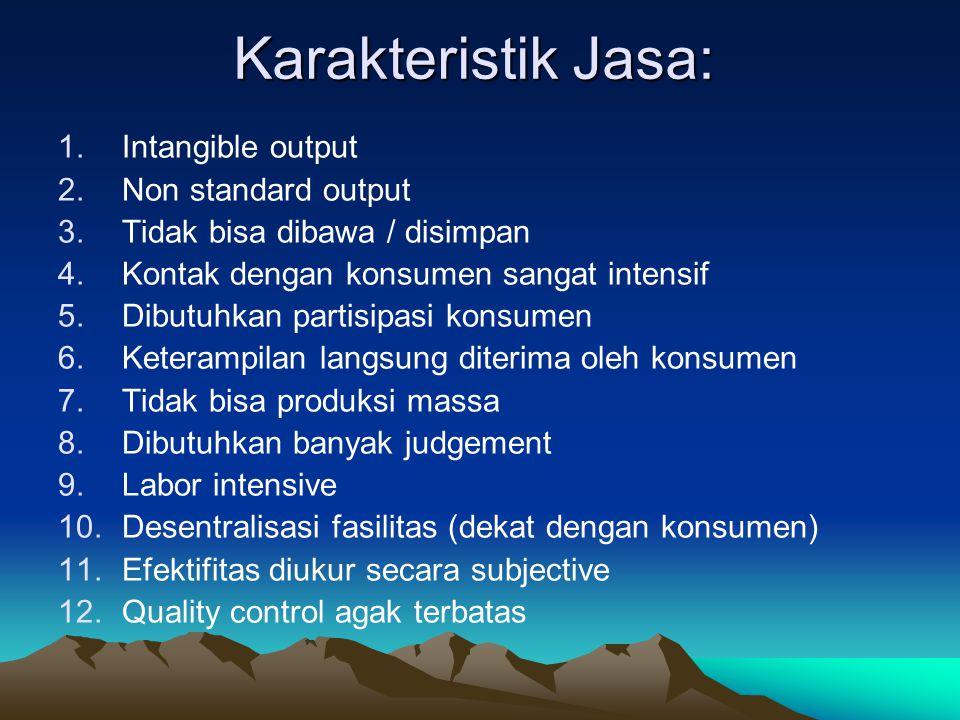 Karakteristik Jasa: Intangible output Non standard output