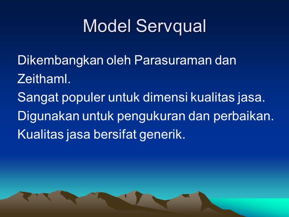 Model Servqual Dikembangkan oleh Parasuraman dan Zeithaml.