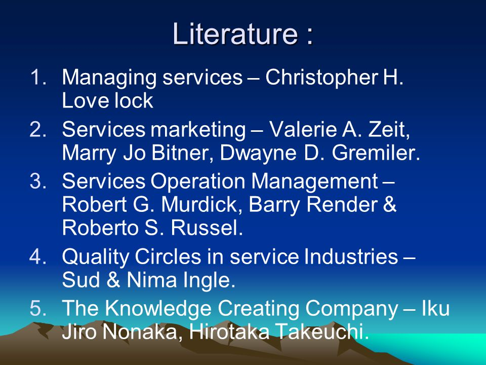 Literature : Managing services – Christopher H. Love lock