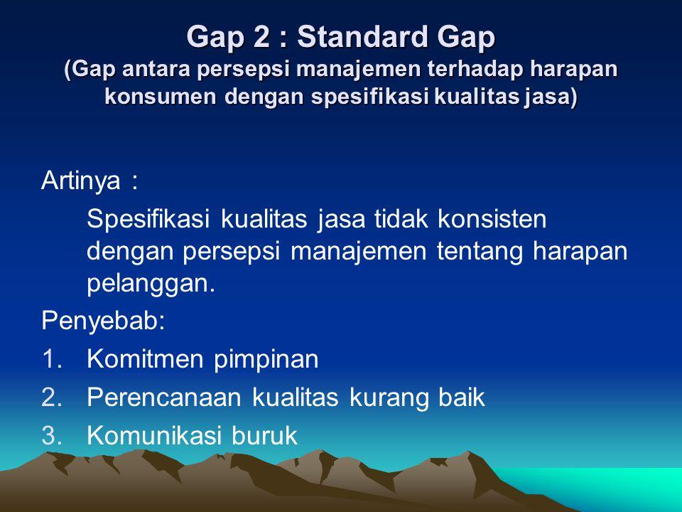 Gap 2 : Standard Gap (Gap antara persepsi manajemen terhadap harapan konsumen dengan spesifikasi kualitas jasa)