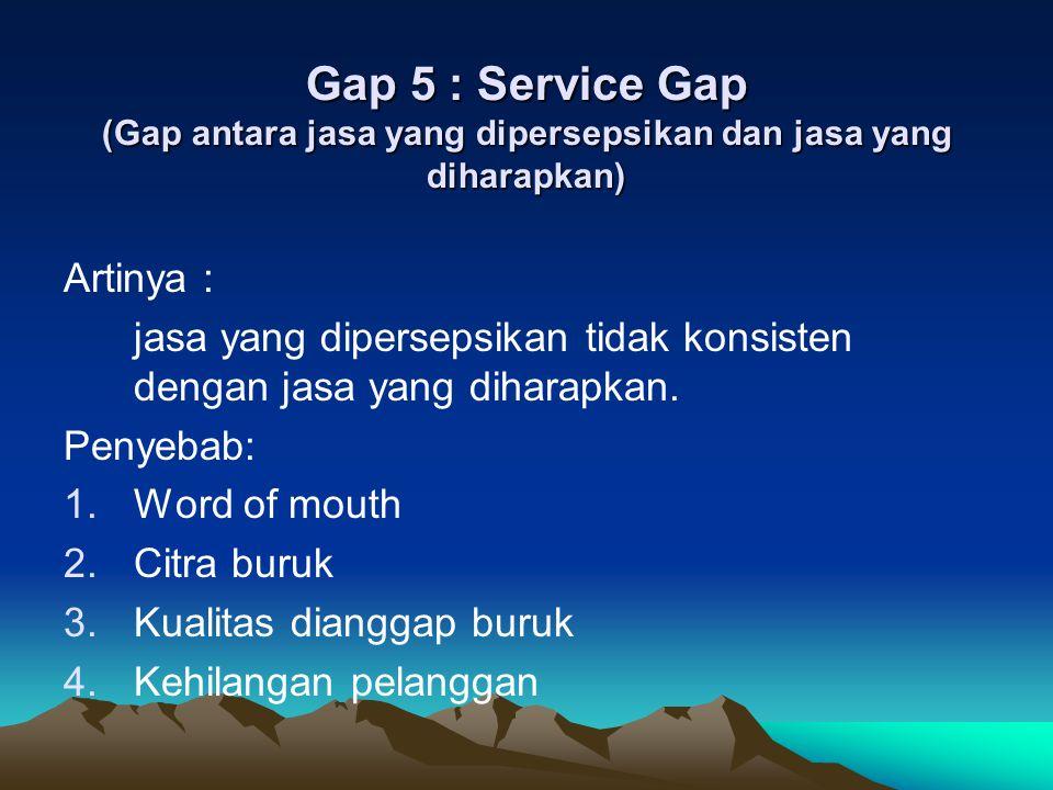 Gap 5 : Service Gap (Gap antara jasa yang dipersepsikan dan jasa yang diharapkan)