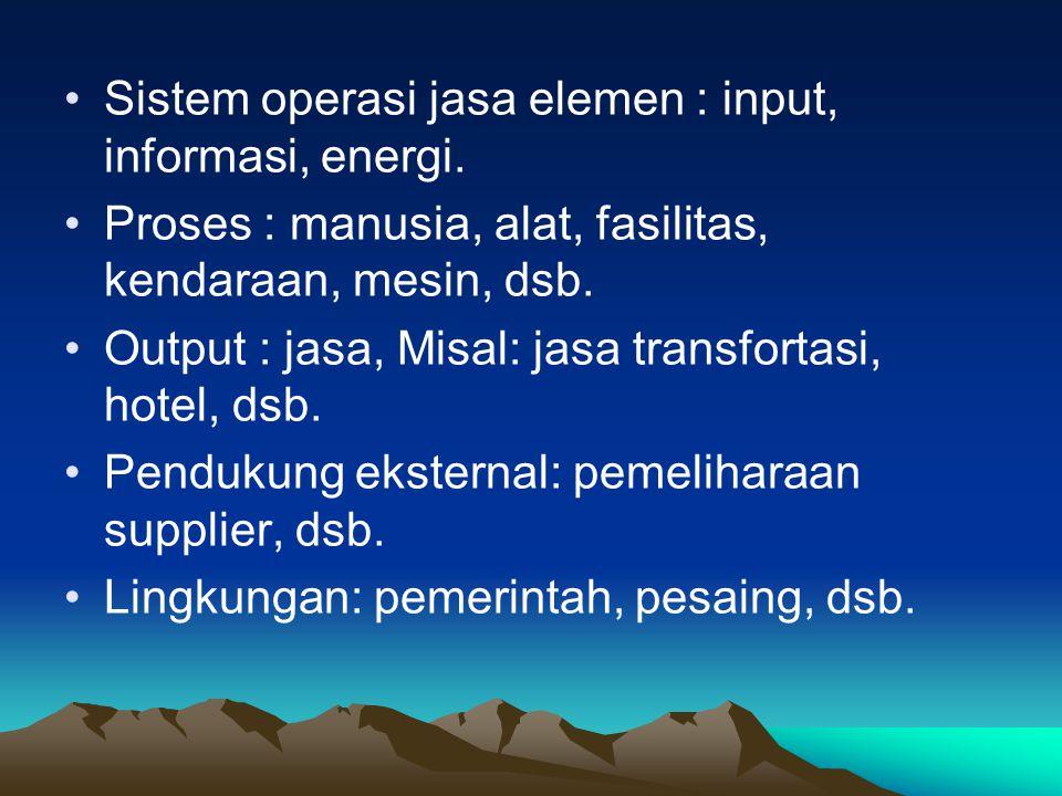 Sistem operasi jasa elemen : input, informasi, energi.