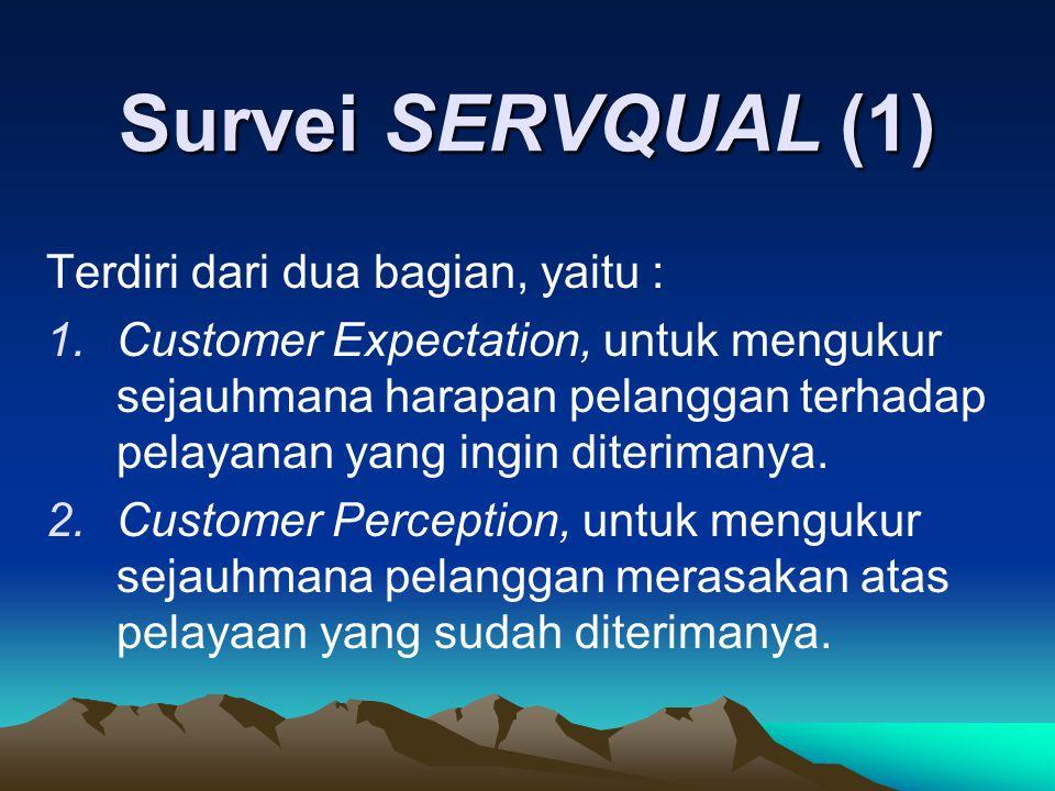 Survei SERVQUAL (1) Terdiri dari dua bagian, yaitu :