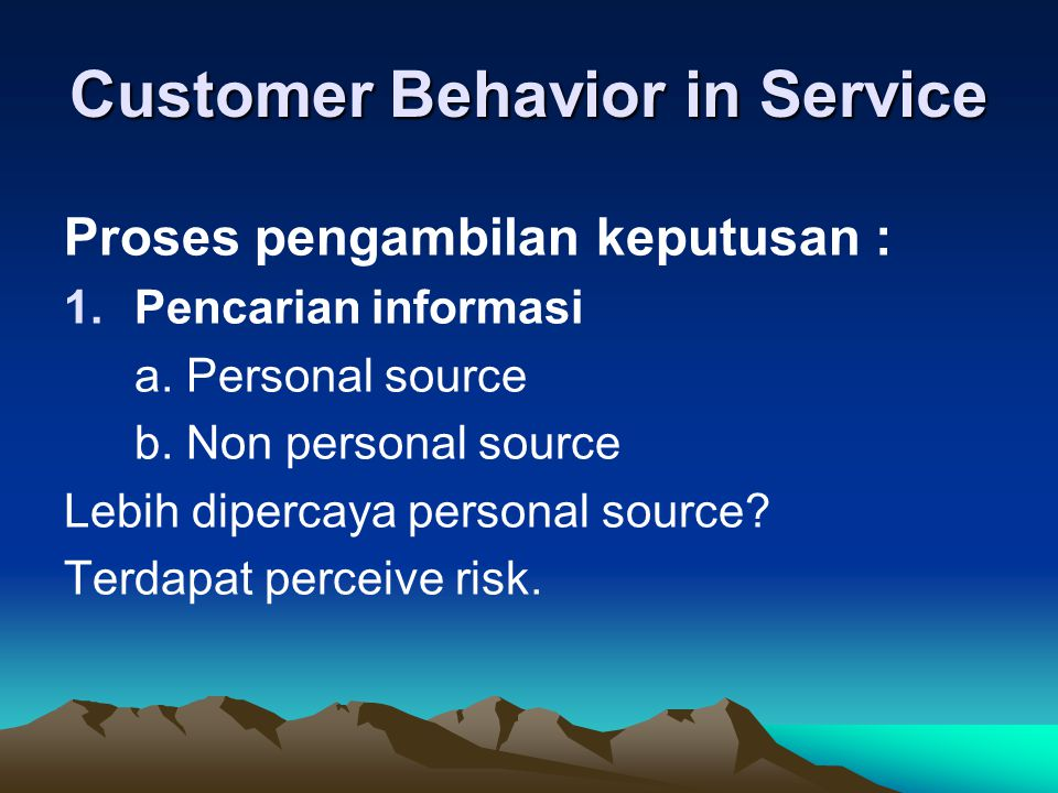 Customer Behavior in Service