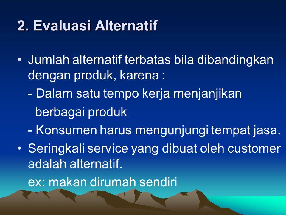 2. Evaluasi Alternatif Jumlah alternatif terbatas bila dibandingkan dengan produk, karena : - Dalam satu tempo kerja menjanjikan.