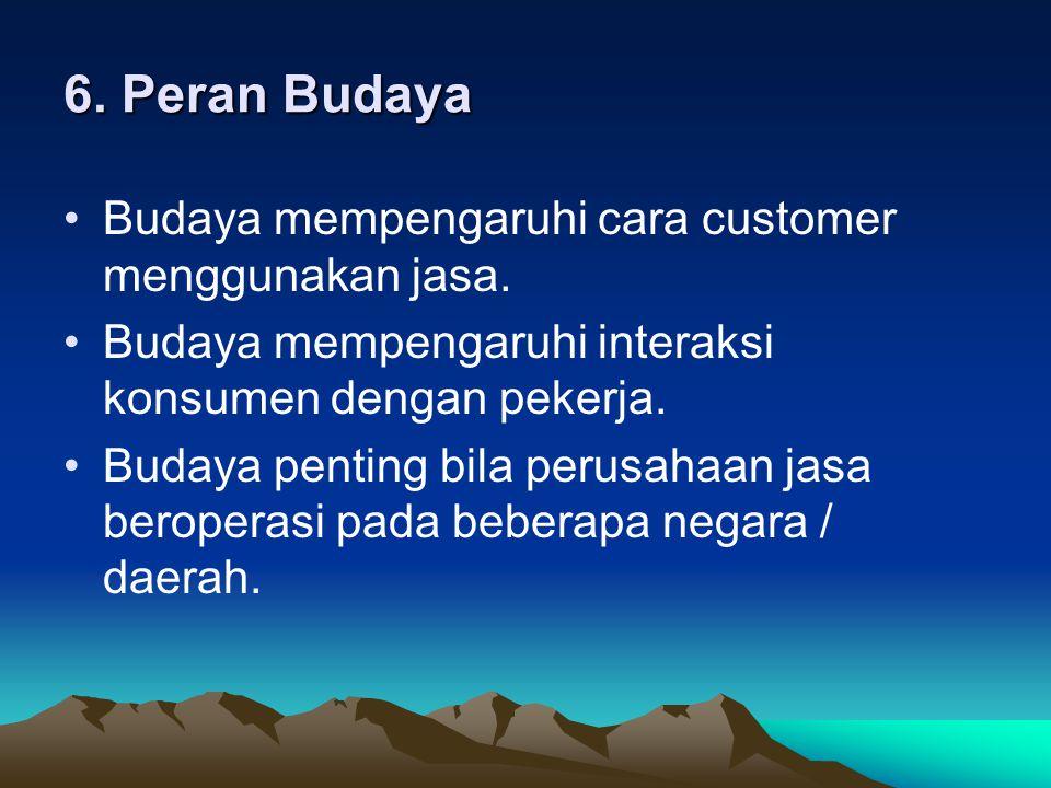 6. Peran Budaya Budaya mempengaruhi cara customer menggunakan jasa.