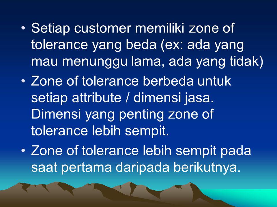 Setiap customer memiliki zone of tolerance yang beda (ex: ada yang mau menunggu lama, ada yang tidak)