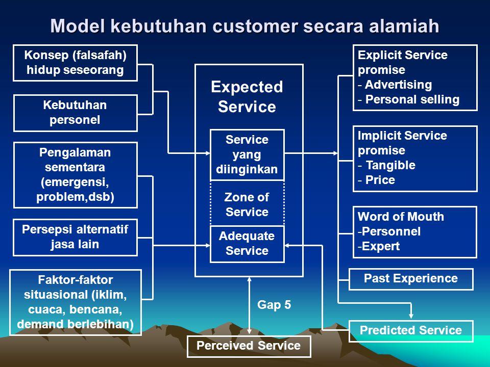 Model kebutuhan customer secara alamiah