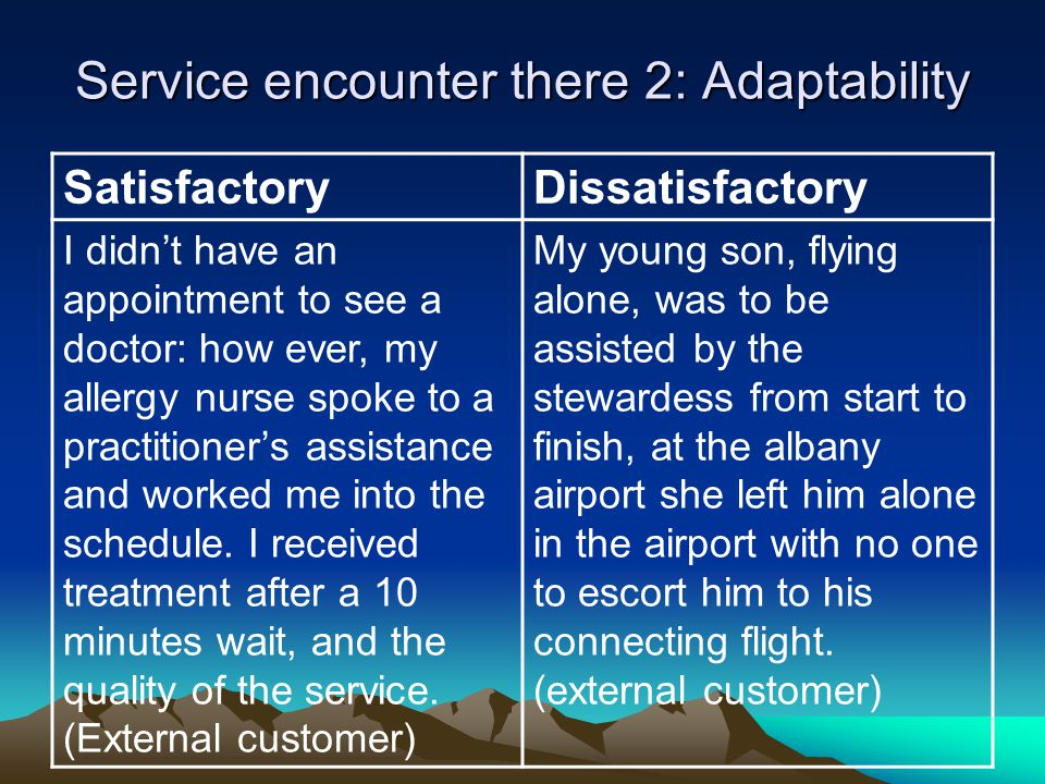 Service encounter there 2: Adaptability