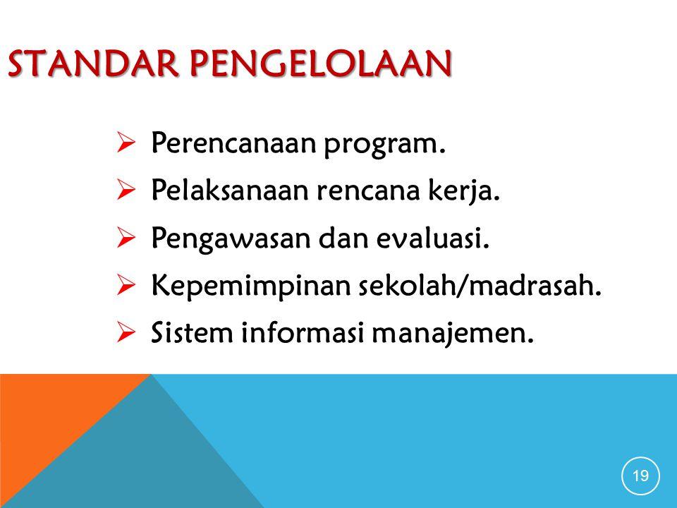 Standar Pengelolaan Perencanaan program. Pelaksanaan rencana kerja.