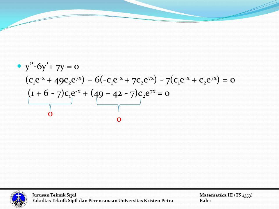 (c1e-x + 49c2e7x) – 6(-c1e-x + 7c2e7x) - 7(c1e-x + c2e7x) = 0