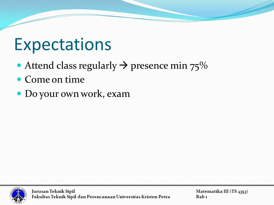 Expectations Attend class regularly  presence min 75% Come on time