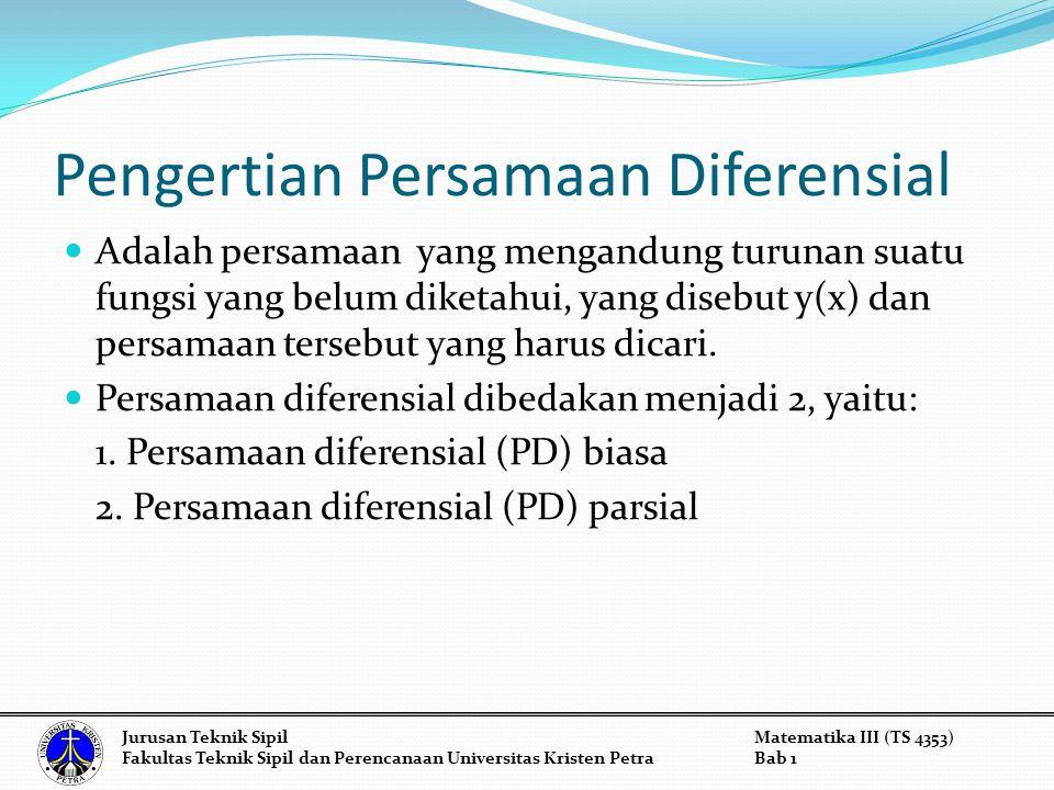 Pengertian Persamaan Diferensial