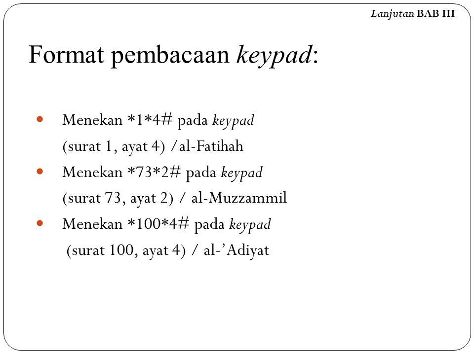 Format pembacaan keypad: