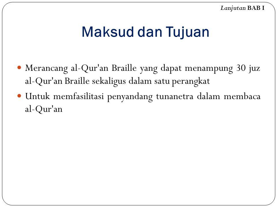 Lanjutan BAB I Maksud dan Tujuan. Merancang al-Qur an Braille yang dapat menampung 30 juz al-Qur an Braille sekaligus dalam satu perangkat.