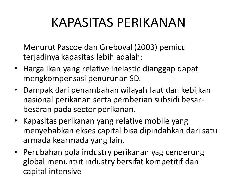 KAPASITAS PERIKANAN Menurut Pascoe dan Greboval (2003) pemicu terjadinya kapasitas lebih adalah:
