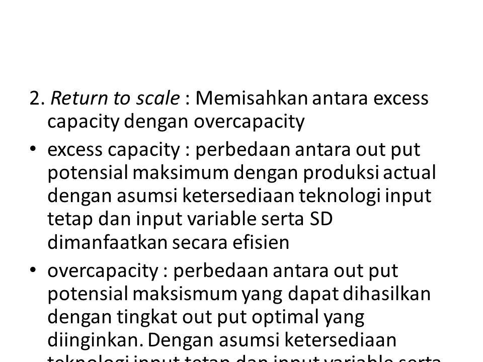 2. Return to scale : Memisahkan antara excess capacity dengan overcapacity
