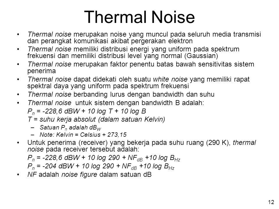 Thermal Noise Thermal noise merupakan noise yang muncul pada seluruh media transmisi dan perangkat komunikasi akibat pergerakan elektron.