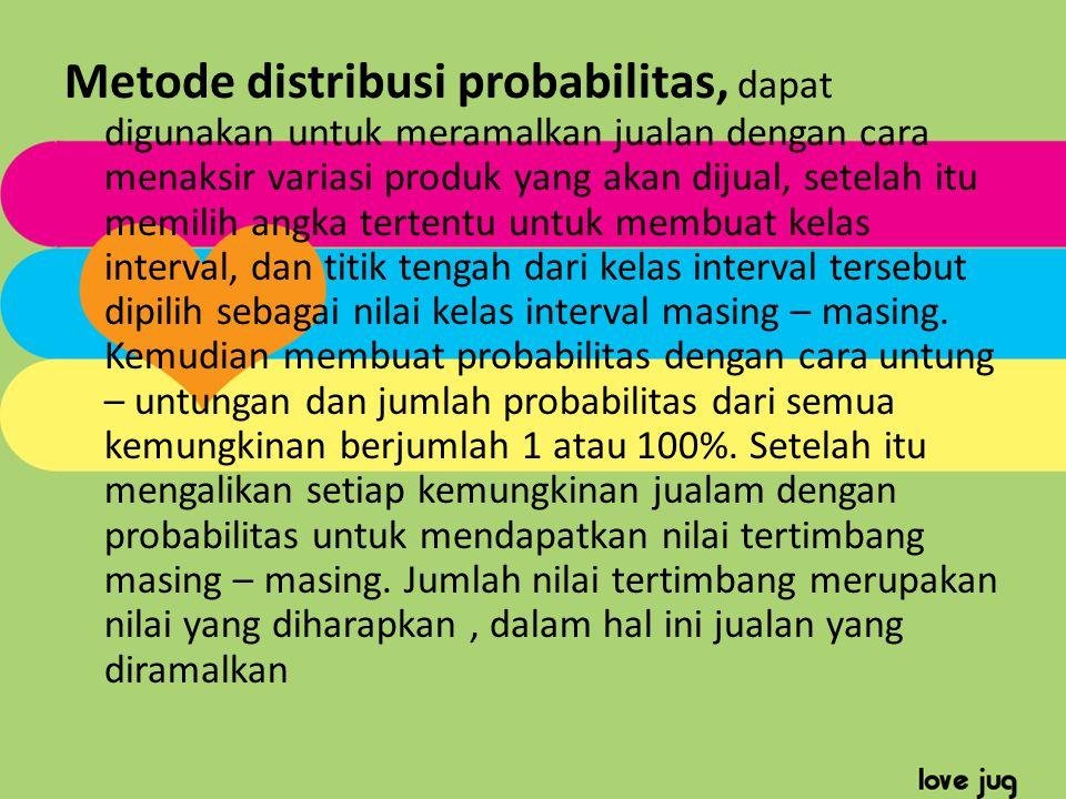 Metode distribusi probabilitas, dapat digunakan untuk meramalkan jualan dengan cara menaksir variasi produk yang akan dijual, setelah itu memilih angka tertentu untuk membuat kelas interval, dan titik tengah dari kelas interval tersebut dipilih sebagai nilai kelas interval masing – masing.
