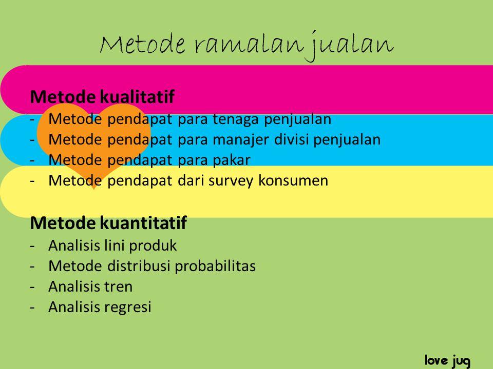 Metode ramalan jualan Metode kualitatif Metode kuantitatif