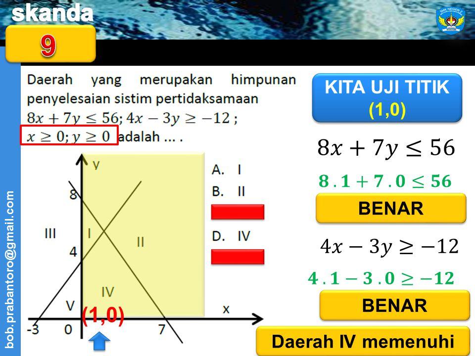 9 8𝑥+7𝑦≤56 4𝑥−3𝑦≥−12 (1,0) KITA UJI TITIK (1,0) 𝟖 . 𝟏+𝟕 . 𝟎≤𝟓𝟔 BENAR