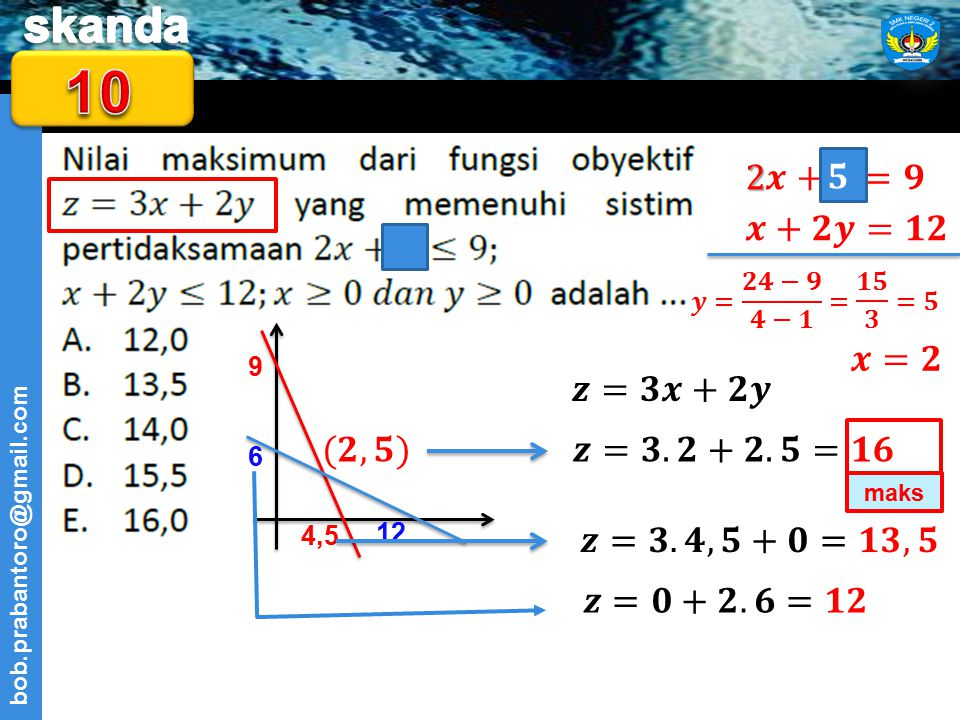 10 2𝒙+𝒚=𝟗 𝟓 𝒙+𝟐𝒚=𝟏𝟐 𝒙=𝟐 𝒛=𝟑𝒙+𝟐𝒚 (𝟐,𝟓) 𝒛=𝟑.𝟐+𝟐.𝟓=𝟏𝟔 𝒛=𝟑.𝟒,𝟓+𝟎=𝟏𝟑,𝟓