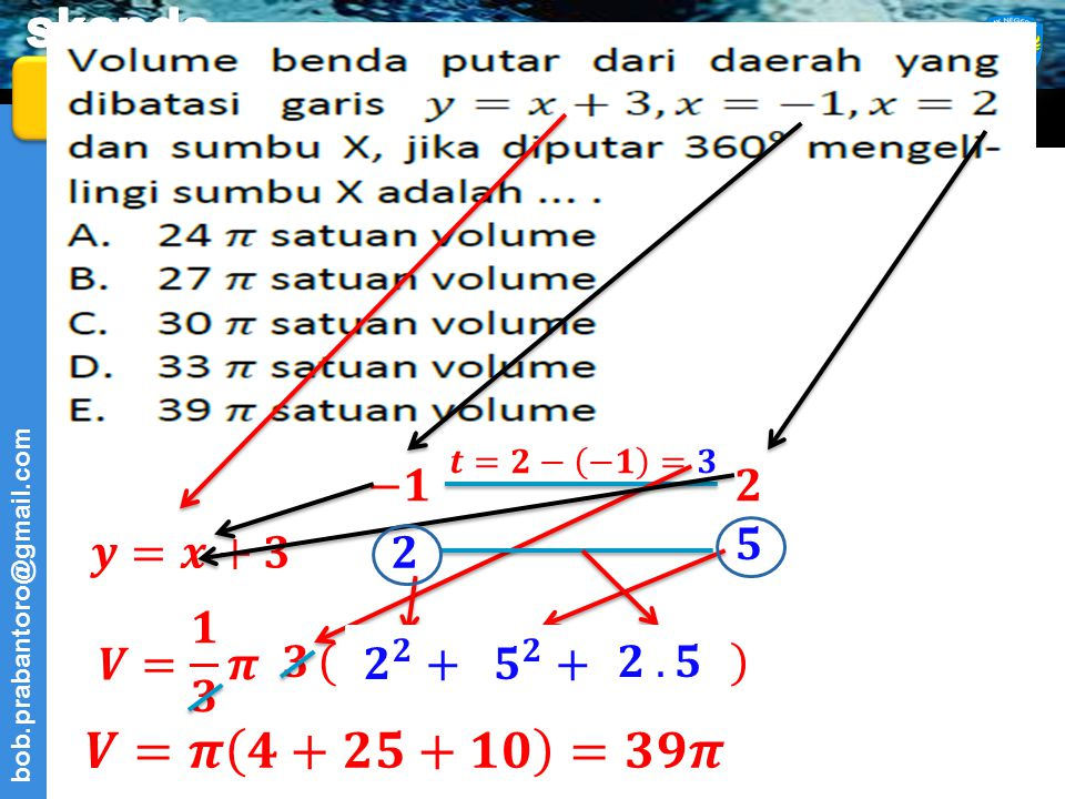 37 𝒕=𝟐− −𝟏 =𝟑. −𝟏. 𝟐. 𝟓. 𝒚=𝒙+𝟑. 𝟐. 𝑽= 𝟏 𝟑 𝝅. 𝟑. ( ) 𝟐 𝟐 +