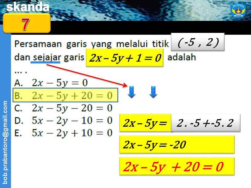 7 2x – 5y + 20 = 0 ( -5 , 2 ) 2x – 5y + 1 = 0 2x – 5y = 2 . -5 +-5 . 2