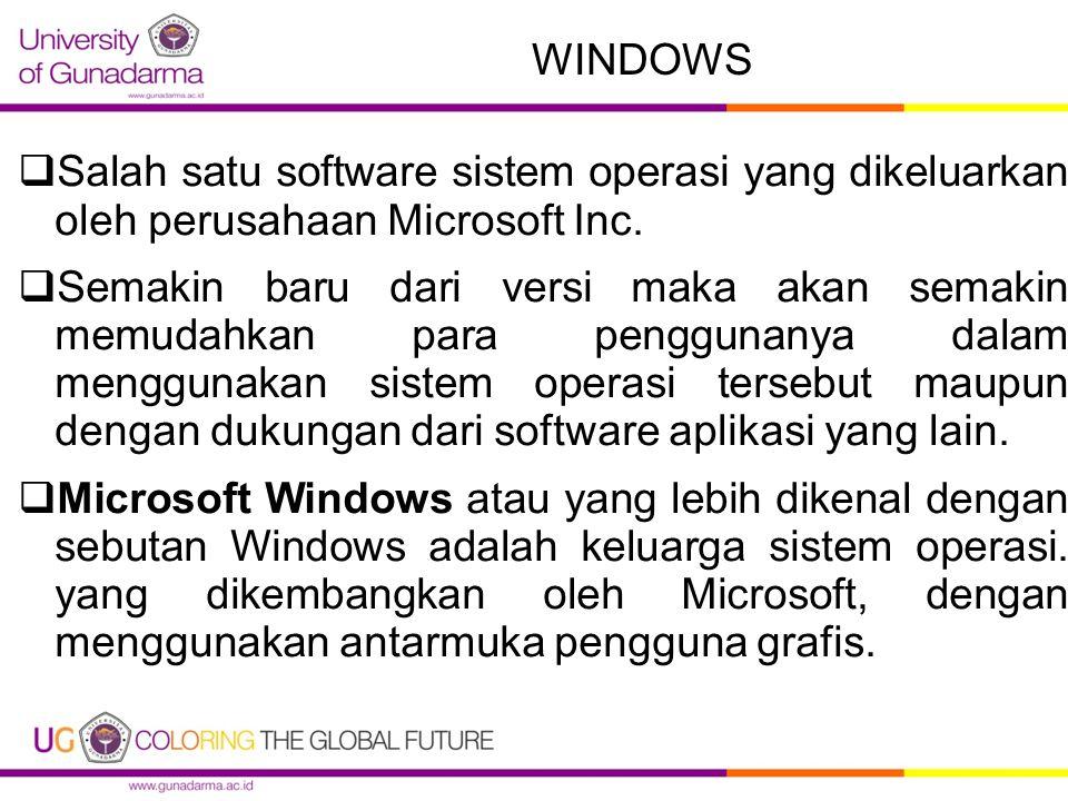 WINDOWS Salah satu software sistem operasi yang dikeluarkan oleh perusahaan Microsoft Inc.