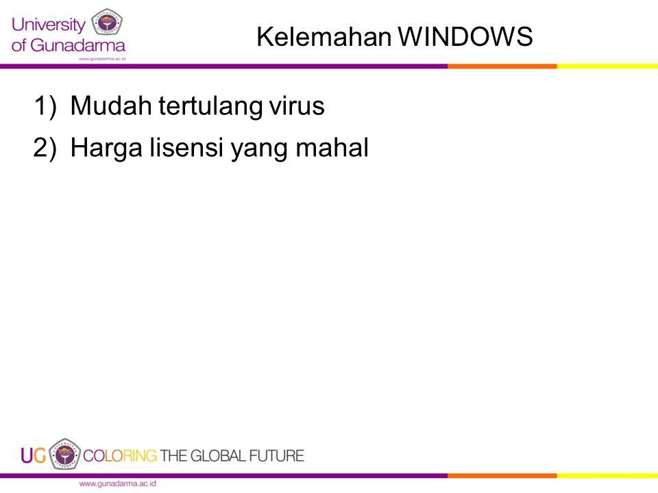 Kelemahan WINDOWS Mudah tertulang virus Harga lisensi yang mahal
